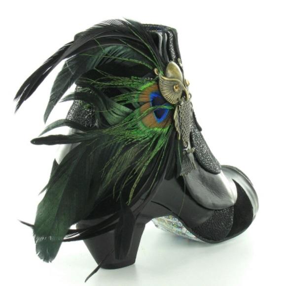 Irregular Choice Say No No Black Owl Peacock Boot